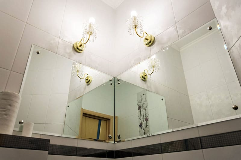 Detail of bathroom with custom mirrors in minneapolis
